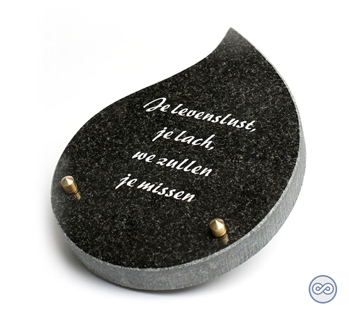 Grafsteenwinkel Druppelvormig bijzetsteentje met een liefdevolle tekst