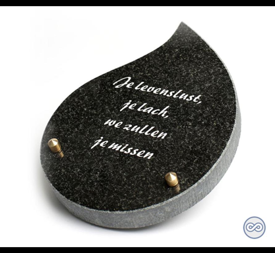 Druppelvormig bijzetsteentje met een liefdevolle tekst