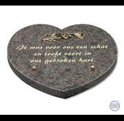 Grafsteenwinkel Hartvormige bruine bijzetsteen met mooie tekst