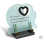 Glasmonument met hart en mooie zwarte tekst