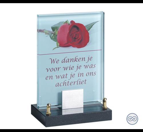 Grafsteenwinkel Glasmonument met afbeelding van een roos