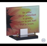 Oranje bloem grafmonument van glas