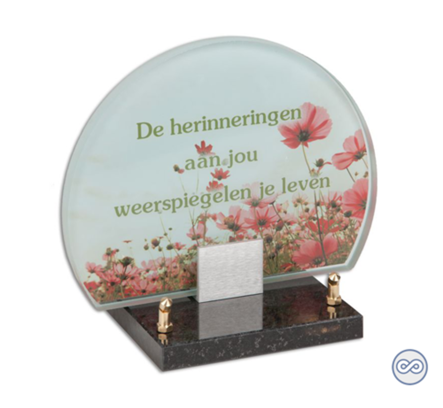 Rond glasmonument bloemen