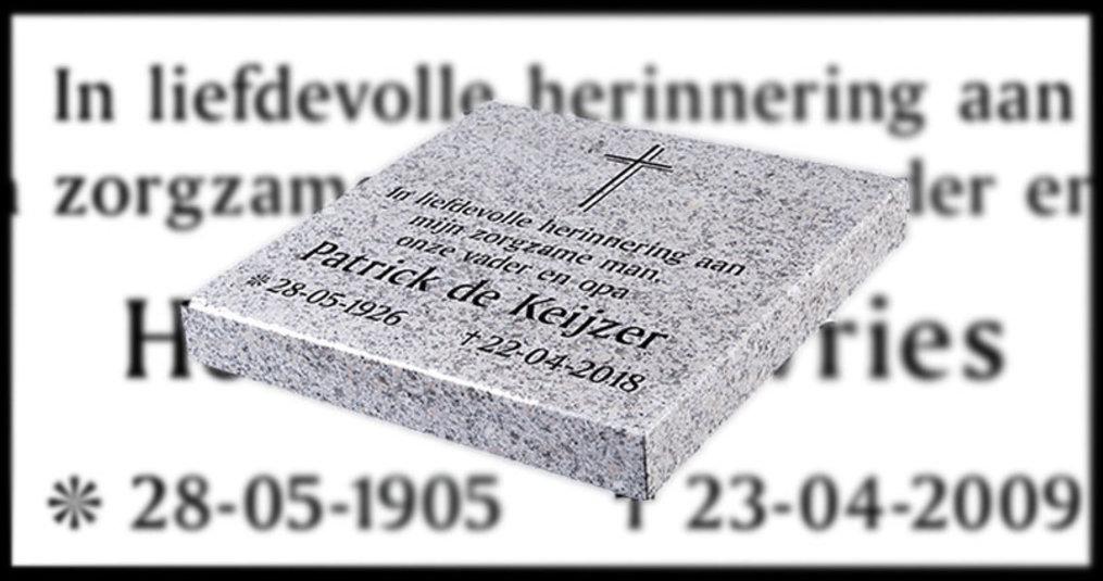 Tekst op een grafsteen samenstellen