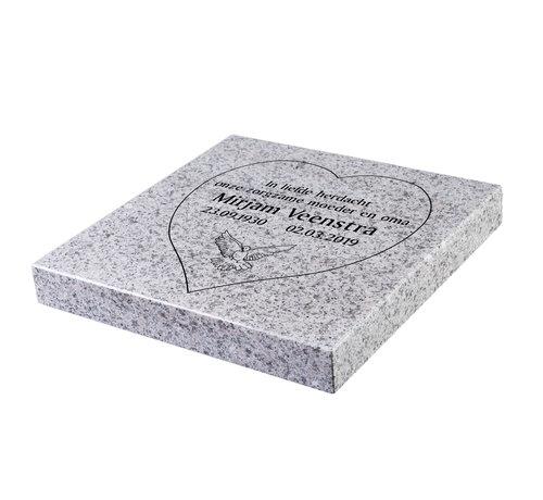 Grafsteenwinkel Liggende grafsteen 'Glittery White' hartvorm