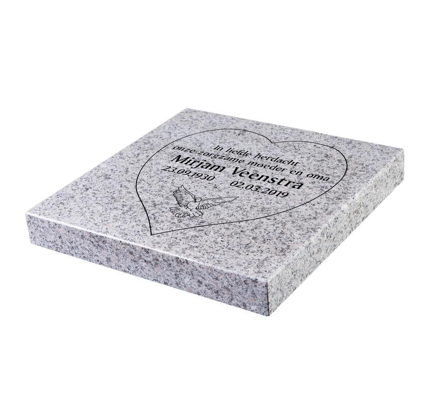 Liggende grafsteen 'Glittery White' hartvorm