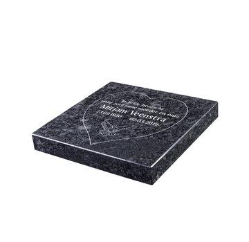 Grafsteenwinkel Liggende grafsteen 'Steel Grey' hartvorm