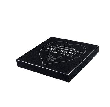 Grafsteenwinkel Liggende grafsteen 'Zwart Graniet' hartvorm