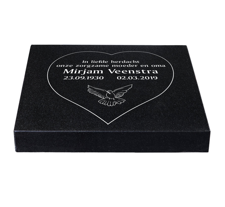 Liggende grafsteen 'Zwart Graniet' hartvorm