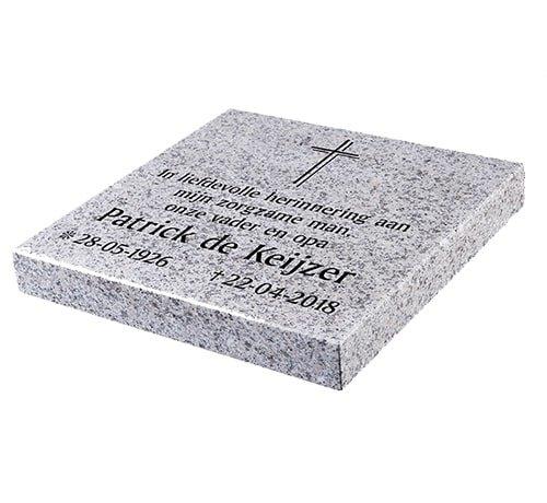 Grafsteenwinkel Liggende grafsteen, Glittery White voor een algemeen graf