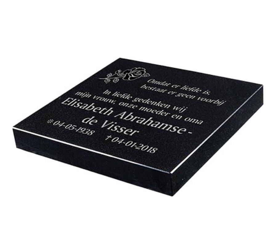 Liggende grafsteen 'Zwart Graniet ' voor een algemeen graf