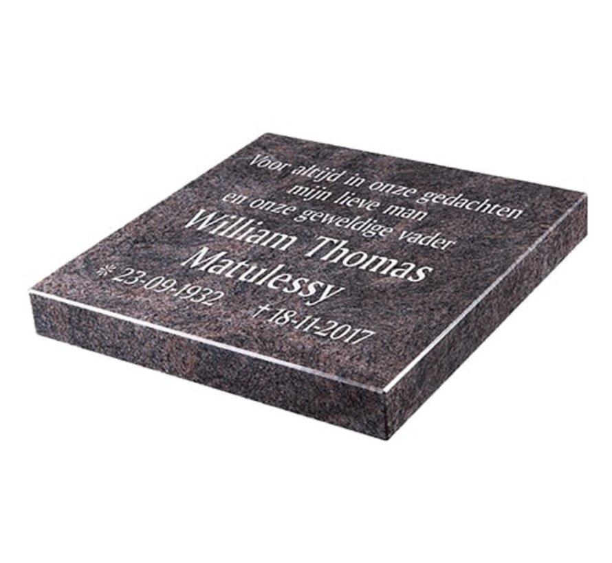 Liggende grafsteen 'Himalaya Blue' voor een algemeen graf