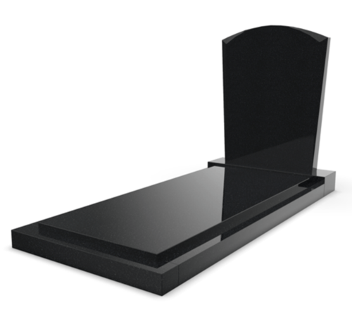 Grafsteenwinkel Staande grafsteen model 'Toog' met afdekplaat in de kleur Zwart Graniet