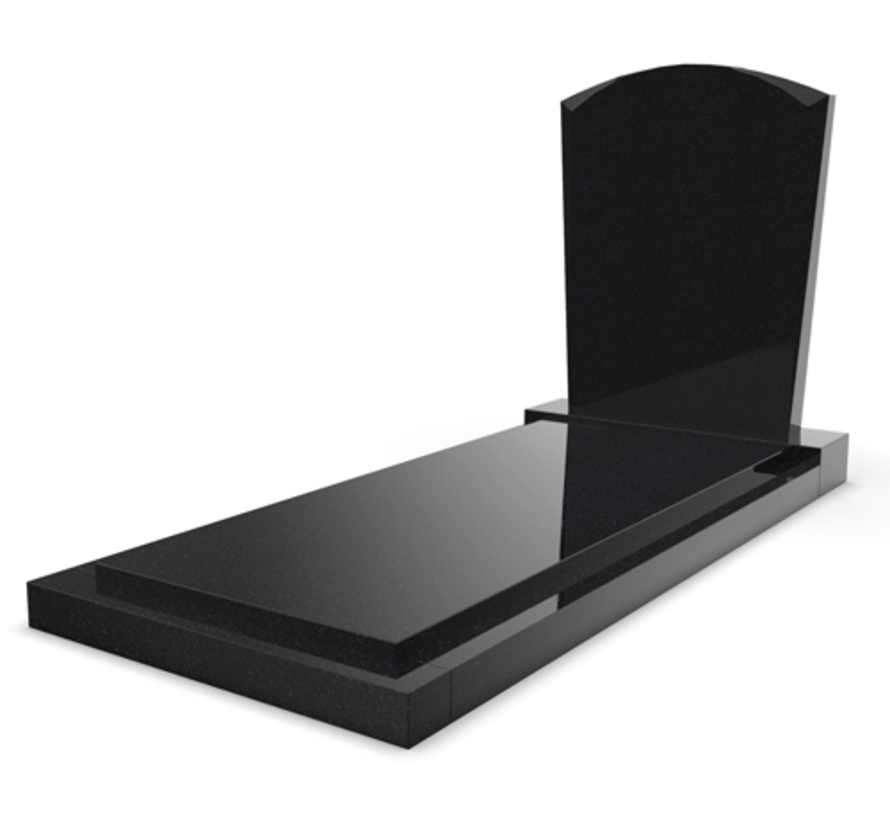 Staande grafsteen model 'Toog' met afdekplaat in de kleur Zwart Graniet