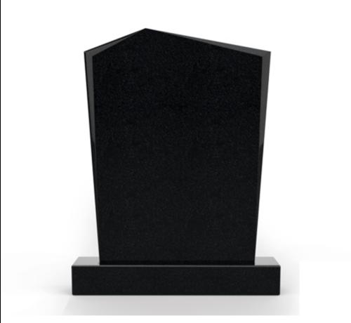 Grafsteenwinkel Staande grafsteen model 'Modern' letterplaat in de kleur Zwart Graniet