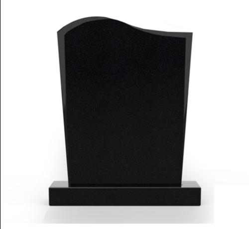 Grafsteenwinkel Staande grafsteen model 'Golf' letterplaat in de kleur Zwart Graniet