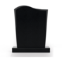 Staande grafsteen model 'Golf' letterplaat in de kleur Zwart Graniet