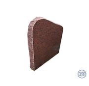 Grafsteenwinkel Rode staande steen met ruwe zijkanten