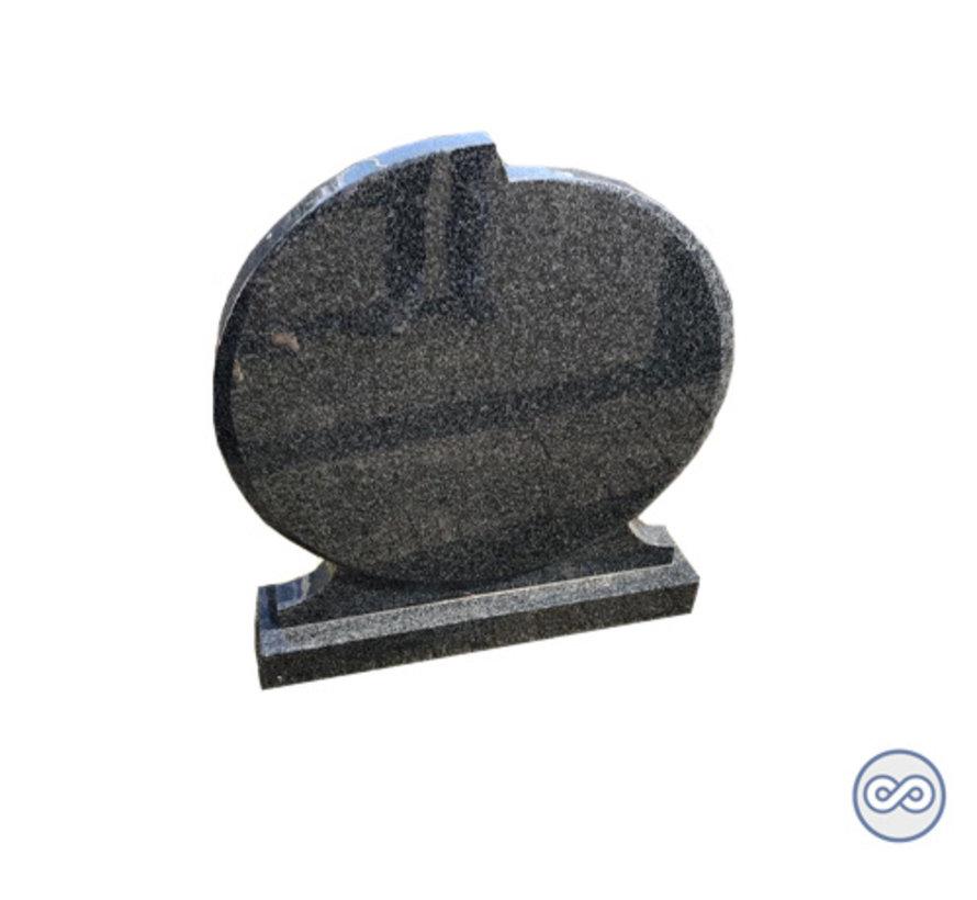 Granieten grijze ronde grafsteen