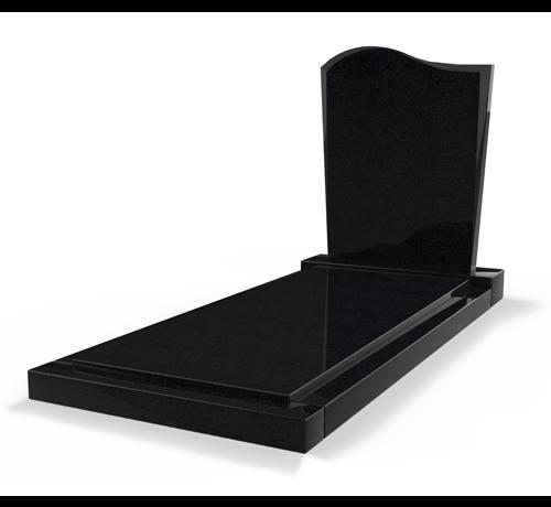 Grafsteenwinkel Staande grafsteen model 'Golf' met afdekplaat in de kleur Zwart Graniet