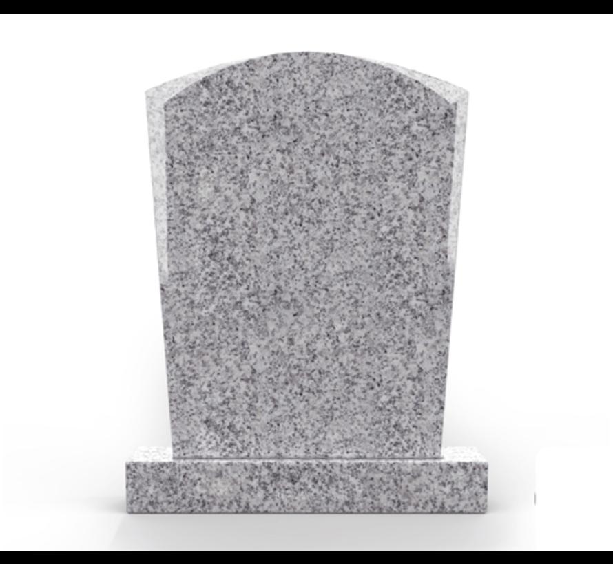 Staande grafsteen model 'Toog'  letterplaat in de kleur Glittery White