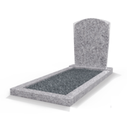 Grafsteenwinkel Staande grafsteen Toog met omranding en donker grind Glittery White