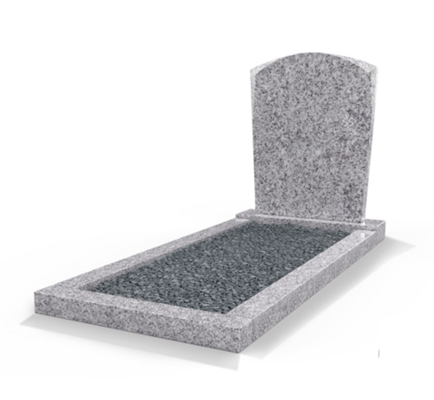 Staande grafsteen model 'Toog' met omranding en donker grind in de kleur Glittery White