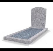 Grafsteenwinkel Staande grafsteen Toog met omranding en licht grind Glittery White