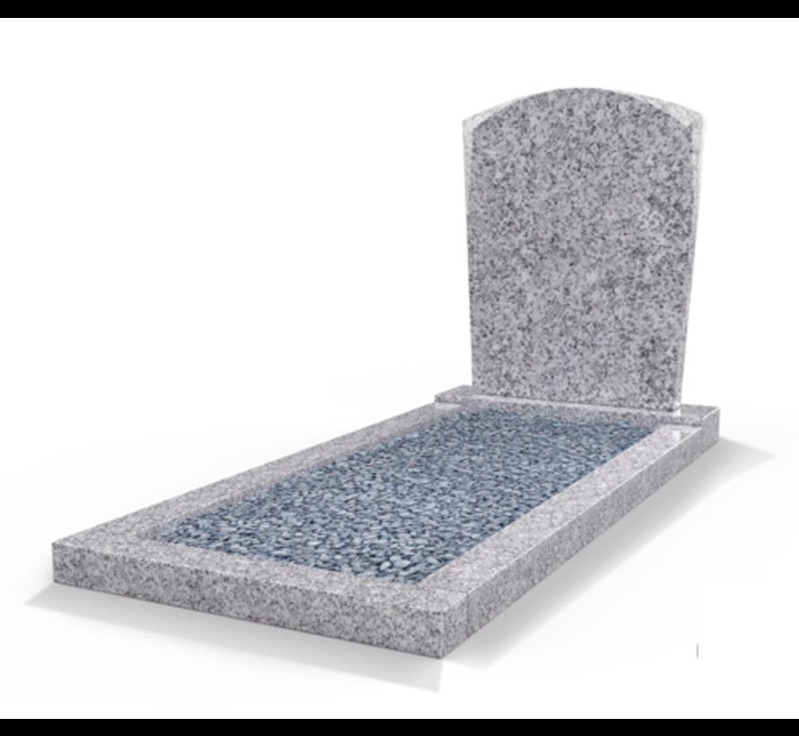 Staande grafsteen model 'Toog' met omranding en licht grind in de kleur Glittery White