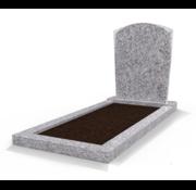 Grafsteenwinkel Staande grafsteen Toog met omranding en grond Glittery White
