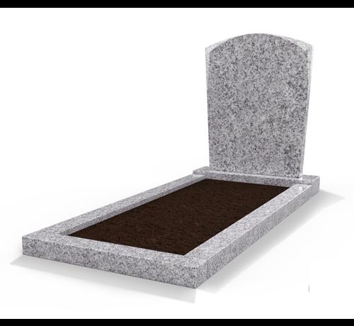 Grafsteenwinkel Staande grafsteen model 'Toog' met omranding en grond in de kleur Glittery White