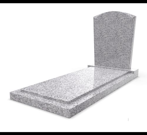 Grafsteenwinkel Staande grafsteen model 'Toog' met afdekplaat in de kleur Glittery White