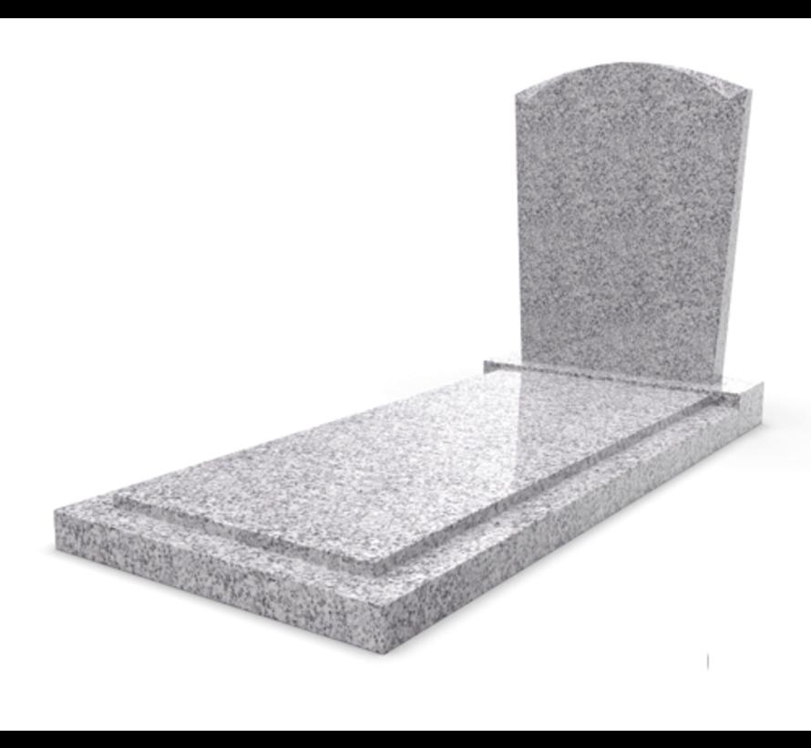 Staande grafsteen model 'Toog' met afdekplaat in de kleur Glittery White