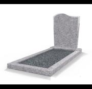 Grafsteenwinkel Staande grafsteen Golf met omranding en donker grind Glittery White