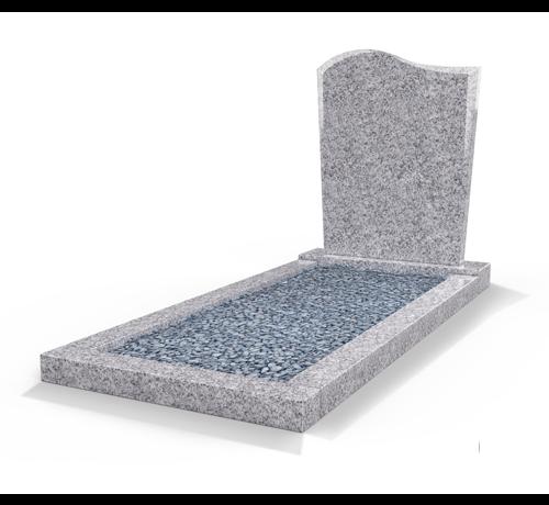 Grafsteenwinkel Staande grafsteen model 'Golf' met omranding en licht grind in de kleur Glittery White