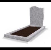 Grafsteenwinkel Staande grafsteen Golf met omranding en grond Glittery White