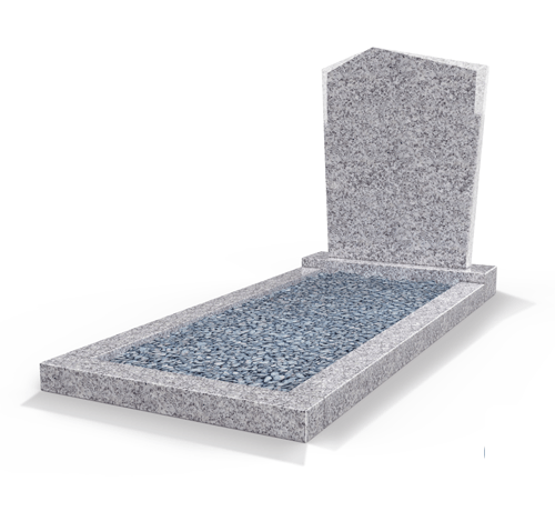 Grafsteenwinkel Staande grafsteen model 'Modern' met omranding en licht grind in de kleur Glittery White