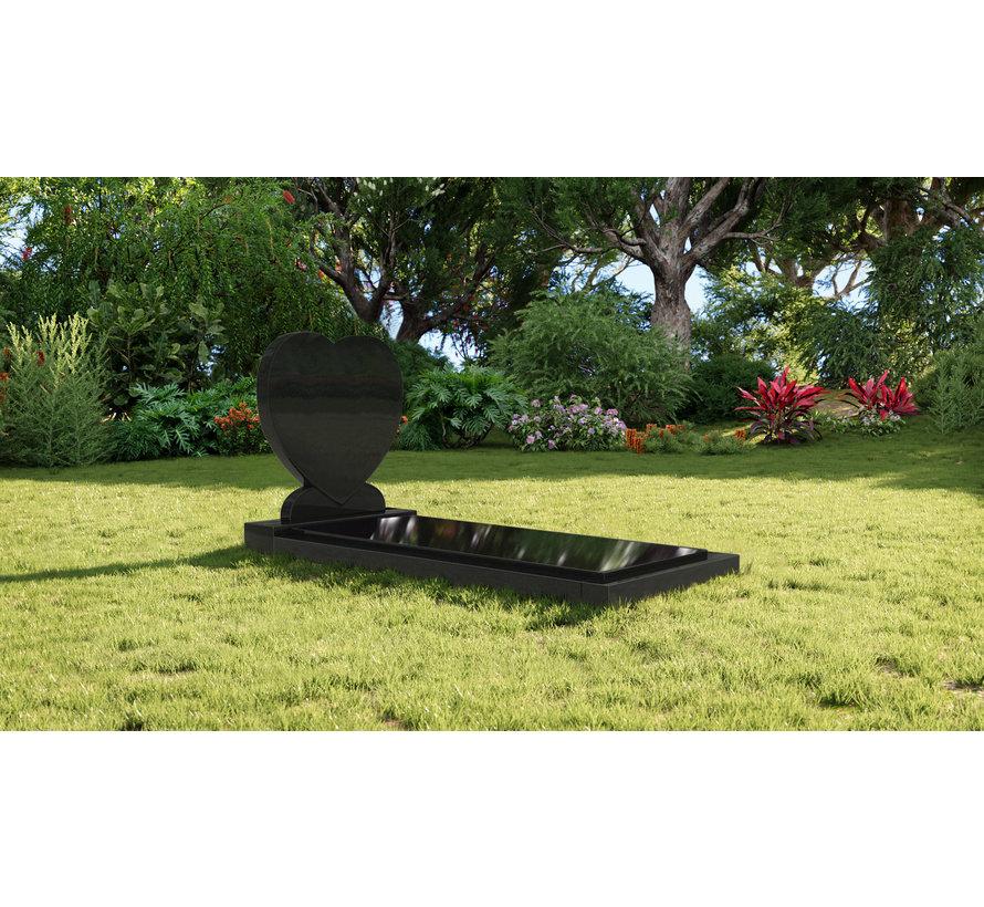 Staande grafsteen 'Hartmodel' met afdekplaat in de kleur Zwart Graniet