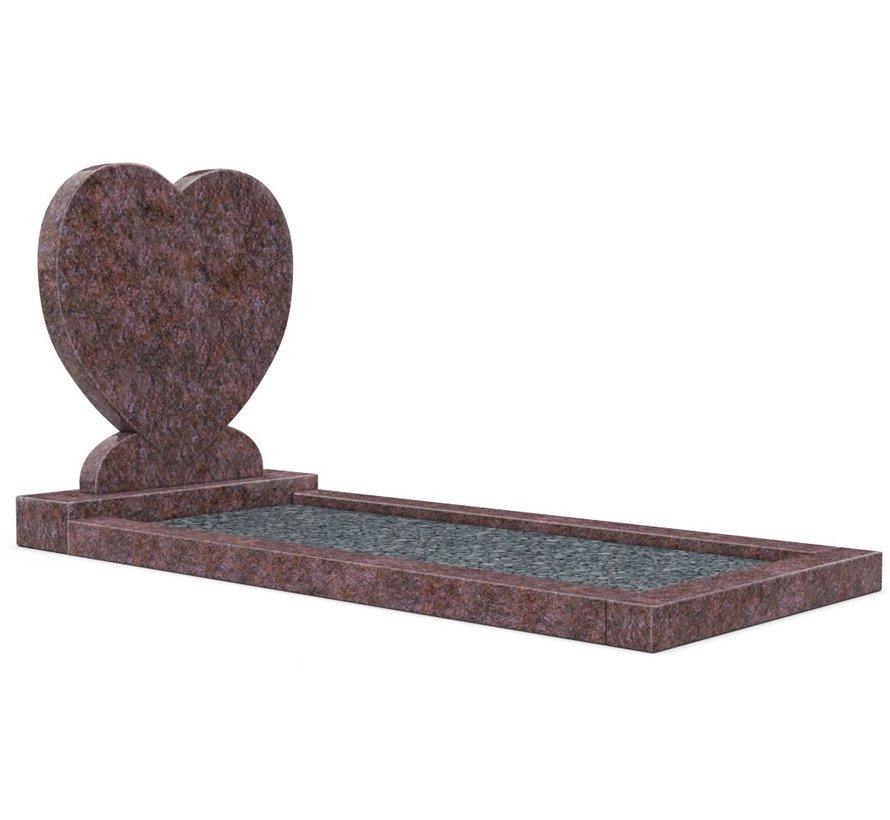 Staande grafsteen 'hartmodel' met omranding en donker grind in de kleur Himalaya Blue