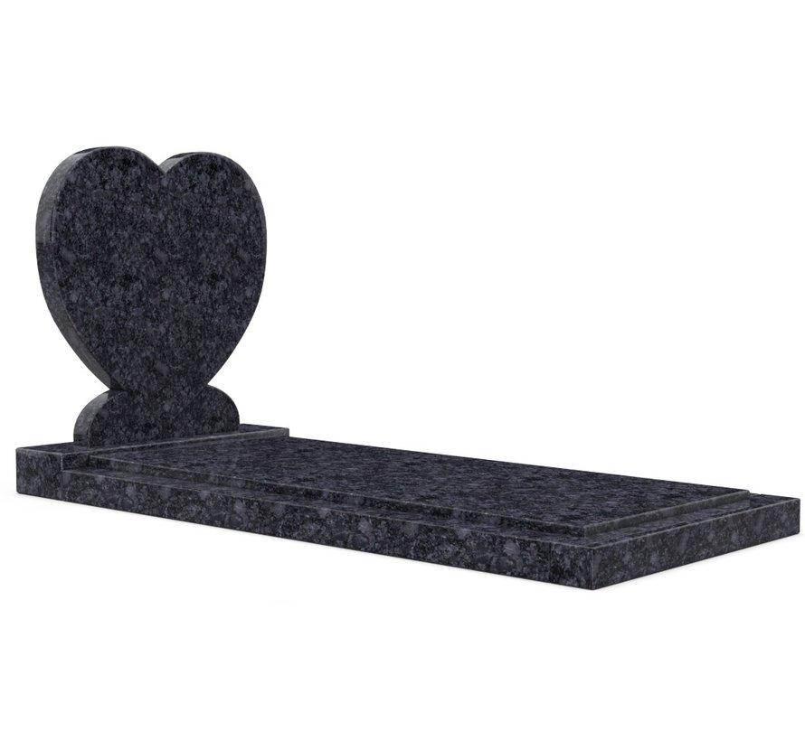 Staande grafsteen 'Hartmodel' met afdekplaat in de kleur Steel Grey