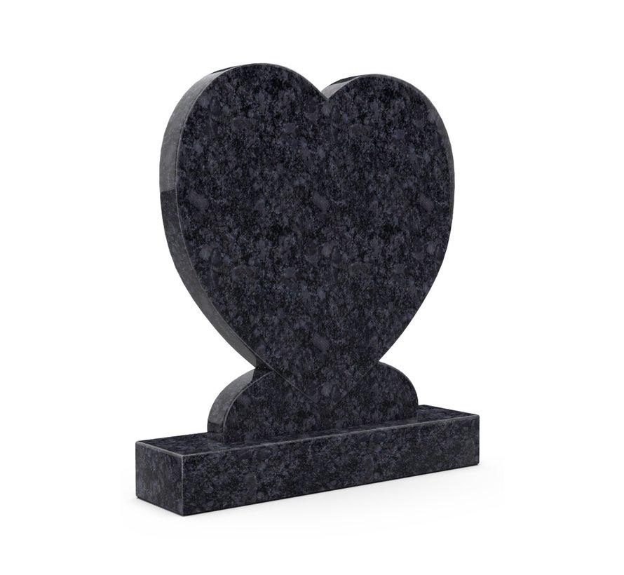 Staande grafsteen 'hartmodel' letterplaat in de kleur Steel Grey
