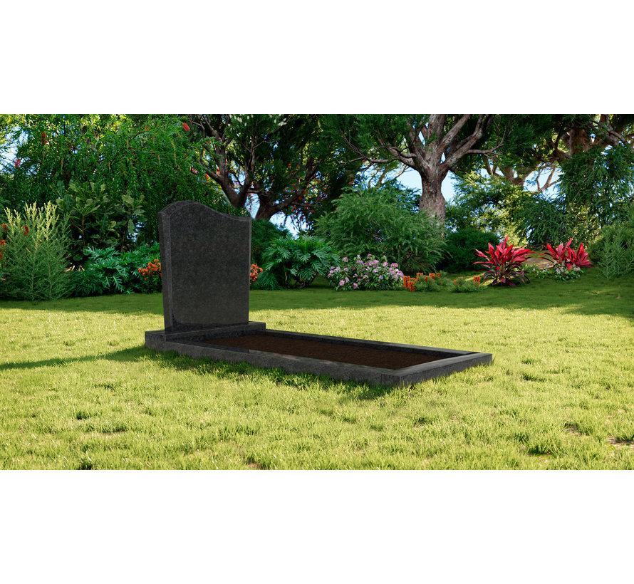 Staande grafsteen model 'Golf' met omranding en grond in de kleur Steel Grey