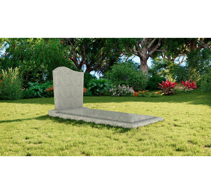 Staande grafsteen model 'Golf' met afdekplaat in de kleur Glittery White