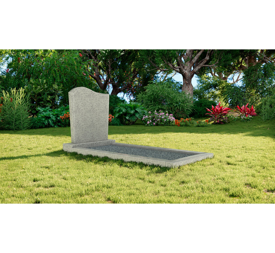 Staande grafsteen model 'Golf' met omranding en licht grind in de kleur Glittery White