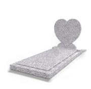 Grafsteenwinkel Staande grafsteen Hartmodel met afdekplaat Glittery White
