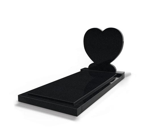Grafsteenwinkel Staande grafsteen 'Hartmodel' met afdekplaat in de kleur Zwart Graniet