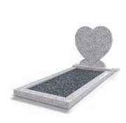 Grafsteenwinkel Staande grafsteen Hartmodel met omranding en donker grind Glittery White