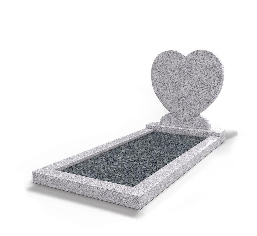 Staande grafsteen 'hartmodel' met omranding en donker grind in de kleur Glittery White