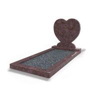 Grafsteenwinkel Staande grafsteen Hartmodel met omranding en donker grind Himalaya Blue