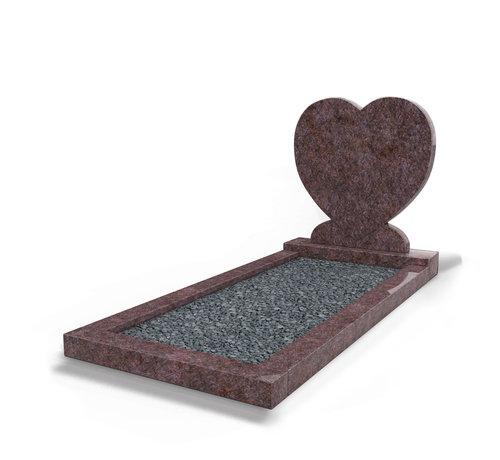 Grafsteenwinkel Staande grafsteen 'hartmodel' met omranding en donker grind in de kleur Himalaya Blue